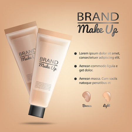 Branded Make Up, Cosmetics Product Realistic Vector Banner or Poster with Color Sample Drops on Gradient Beige Background. Skin Tonic Soothing Facial Cream, Toner or Lotion Tubes 3d Illustration