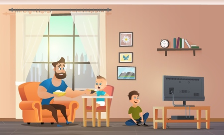 Happy Father Having Fun, Spending Time with Childrens at Home Cartoon Vector. Smiling Dad Feeding Baby Boy in Highchair Porridge with Spoon while Eldest Son Playing Computer Games on TV Illustration