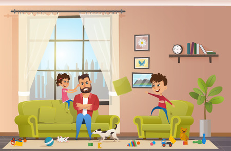 Annoyed and Angry Father with Clenched Teeth Sitting at Sofa while Naughty Children Playing and Making Mess in Home, Little Daughter Pulling Dads Ear, Son Throwing Pillow Cartoon Vector Illustration Vectores