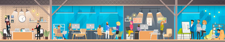Coworking Space with Working Together Freelance Coworkers and Business People Flat Vector Concept. Modern Office Workspace with Comfortable for Business Activity Locations and Environment Illustration