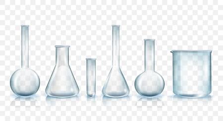 Laboratoriumglaswerk Vector Set geïsoleerd op transparante achtergrond. Glazen bekers, kolven en buizen Collectie van realistische illustraties. Traditionele laboratoriumapparatuur voor wetenschappelijk of medisch onderzoek