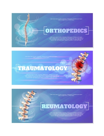 Orthopedics, Traumatology and Reumatology Medical Horizontal Web Banners Set. Collection of Landing Page Templates with Healthy Human Spine and Inflamed or Damaged Vertebra Joints Vector Illustrations 일러스트