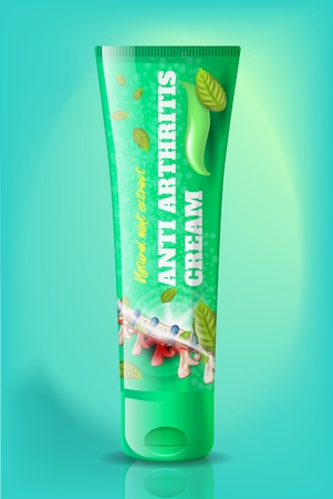 Natural Anti Arthritis Cream with Mint Extract in Branded Green Plastic Tube Realistic Vector with Spine and Mint Leaves Illustrations. Anti-Inflammatory, Pain Relief Product for Joints Diseases Treat