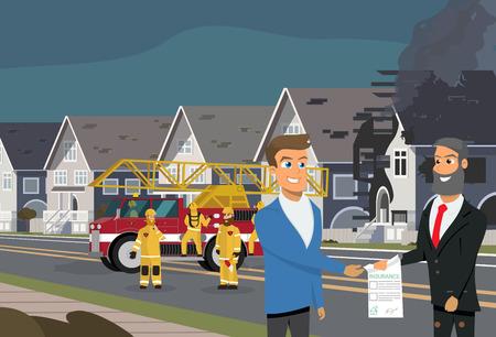 Agent d'assurance souriant donnant une police d'assurance ou un contrat à un client satisfait après que sa maison a été endommagée par un incendie, équipe de pompiers travaillant près d'un camion de pompiers sur fond Illustration vectorielle de dessin animé
