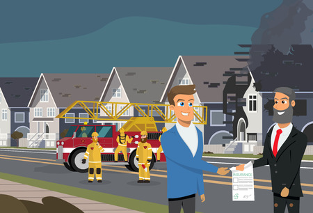 Smiling Insurance Agent Giving Insurance Policy or Contract to Satisfied Client After His House Was Damaged by Fire, Firefighters Team Working Near Fire Truck on Background Cartoon Vector Illustration