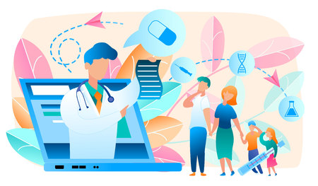 Online Doctor. Telemedicine. Medical Consultation by Internet with Doctor. Medicine and Healthcare Concept. Medical Service Online for whole Family. Health Care Online. Vector Illustration.