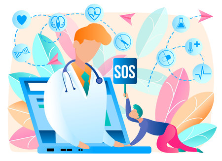 Online Doctor. Telemedicine. Medical Consultation by Internet with Doctor. Medicine and Healthcare Concept. Medical Service Online for Patients. Health Care Online. Vector Illustration.