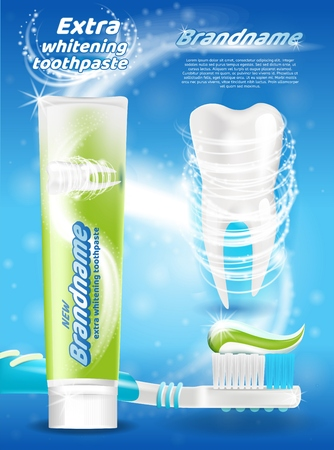 Extra Whitening Toothpaste Realistic Vector Promo Poster with New Toothpaste Branded Tube, Shiny White Tooth and Squeezed Out Toothpaste on Toothbrush Illustration. Hygienic Product Advertising Banner Illustration