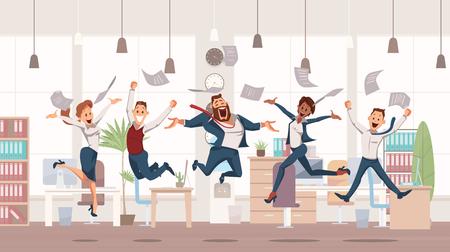 Employés de bureau heureux sautant. Amusement de bureau. Les gens travaillent au bureau. Travailleurs heureux sur le lieu de travail. Culture d'entreprise en entreprise. Joyeuse journée de travail. Collègues au travail. Illustration vectorielle. Vecteurs