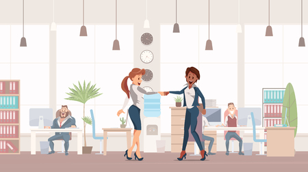 Handshake two Colleagues. Office Fun. People Work in Office. Happy Workers in Workplace. Corporate Culture in Company. Cheerful Working Day. Female Colleagues at work. Vector Illustration.
