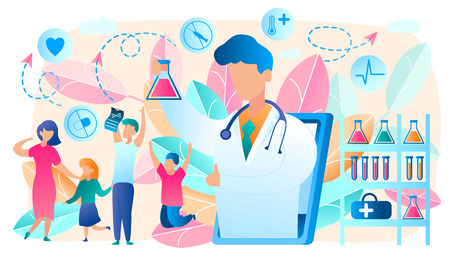Online Doctor. Telemedicine. Medical Consultation by Internet with Doctor. Medicine and Healthcare Concept. Medical Service Online for whole Family. Health Care Online. Vector Illustration. Vettoriali