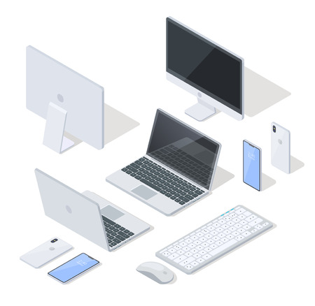 Isometric Projection Vector Set of Various Modern Digital and Computer Devices. Laptop, Cellphone, Computer Monitor, Keyboard and Mouse 3d Models in Grey Color, Front and Back View on White Background Illustration
