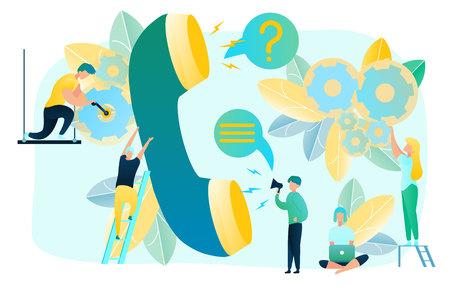 Aufrufen des technischen Supports der Kunden mit flachem Vektorkonzept. Fehlerbehebung bei Client-Diensten, Diagnose- und Reparaturproblemen, Beratung von Benutzern und Remote-Behebung von Problemen. Reparaturservice-Hotline
