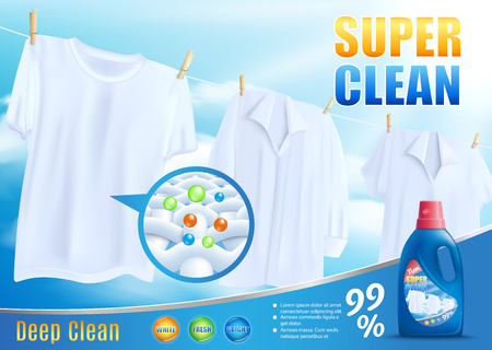 Liquid Laundry Detergent, Bleaching Agent, Stain Remover Vector Promotion Banner with Washed White Shirts and T-Shirt Hanging on Rope, Magnified Tissue Structure and Household Chemicals Branded Bottle