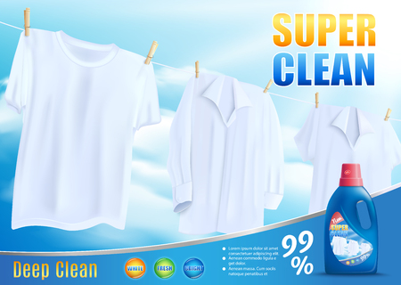 Laundry Liquid Detergent, Bleaching Agent, Stain Remover with Super Deep Clean Effect Realistic Vector Promotion Banner with Washed White Shirts and T-Shirt Hanging On Rope. Household Chemical Promo