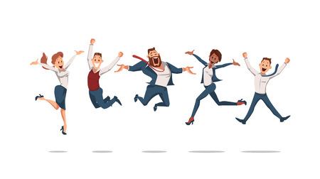 Glückliche Büroangestellte, die aufspringen. Bürospaß. Menschen arbeiten im Büro. Glückliche Arbeiter am Arbeitsplatz. Unternehmenskultur im Unternehmen. Fröhlicher Arbeitstag. Kollegen bei der Arbeit. Vektor-Illustration. Vektorgrafik