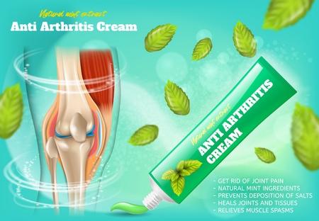 Anti-Arthritis-Creme mit natürlichem Minzextrakt Realistisches Vektor-Promo-Poster. Marken-Tube mit Schmerzlinderung Medizinprodukt für Gelenkerkrankungen Behandlung mit gesundem Kniegelenk, Minzblätter Illustrationen