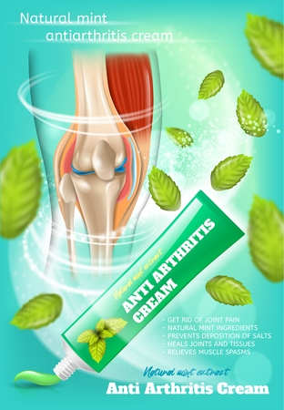 Natural Mint Anti Arthritis Cream Realistic Vector Promotion Vertical Poster or Banner with Medical Product Benefits List, Branded Cream Tube, Healed, Healthy Knee Joint and Mint Leaves Illustrations