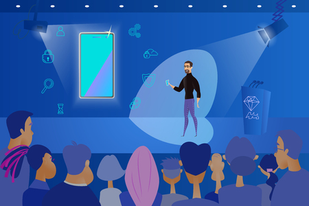 Public Presentation of New Mobile Phone Cartoon Vector Concept with Company CEO, Standing on Stage in Front of Audience with Cellphone in Hand, Explaining Advantages and Functionality of New Product Illustration