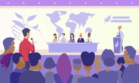 Concept de vecteur de dessin animé de conférence scientifique écologique internationale avec des membres du Présidium assis au bureau sur scène, un orateur debout derrière la tribune et un journaliste posant une question au public