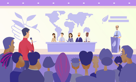 International Ecological Scientific Conference Cartoon Vector Concept with Members of Presidium Siting at Desk on Stage, Speaker Standing Behind Tribune and Journalist Asking Question from Audience Illustration