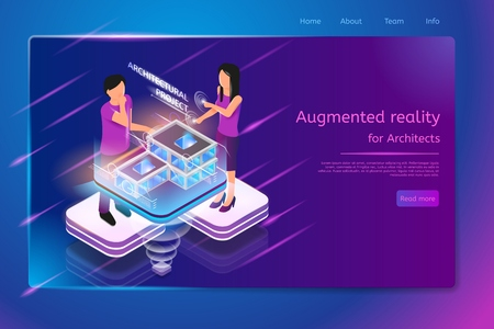 Augmented Reality for Architects Isometric Web Banner with Man and Woman Working with House or Public Building Virtual Project. Innovative Architectural Company Internet Site Template with Hyperlinks