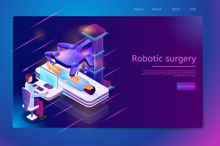 Robotic Surgery Isometric Web Banner with Surgeon Sitting at Desk with Computer Monitor and Perform Surgical Operation with Robotic Laser Scalpel to Patient Lying on Couch. Future Clinic Landing Page Illustration