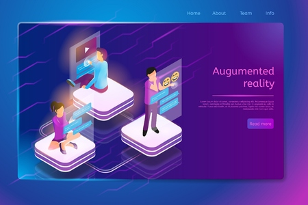 Augmented Reality Isometric Web Banner with People Writing and Reading Massages, Communicating in Virtual Chats, Messengers or Social Networks. Communication Company Web Page Template with Hyperlinks