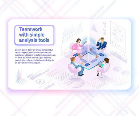 Teamwork with Simple Analysis Tools Isometric Vector Concept with Female and Male Business Persons at Meeting, Using Computer Tablets and Virtual Infographics to Analyze Company Financial Indicators