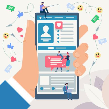 Sitio de redes sociales y concepto de arte Emoji. Sistemas de comunicación, tecnologías digitales y mensajería. Conjunto de comunicación y personas en red. Personas conectadas. Ilustración de vector de estilo plano. Ilustración de vector