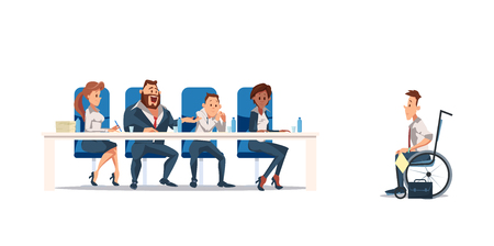 Job Interview and Recruiting Concept. Human Resources in Office. Teamwork during Interview. People Work in Office. invalid in wheelchair at Job Interview in Office. Vector Illustration Flat style.
