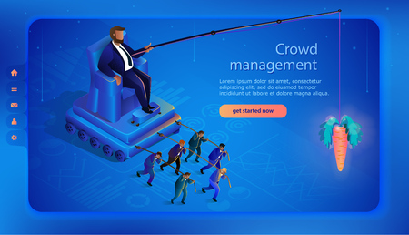 Hidden Crowd Management. Globalization, Leader Controls Puppets. Man on Throne Crowd Control. Business Concept. Manipulation and Management. Landing Page Banner. Vector Isometric Illustration.