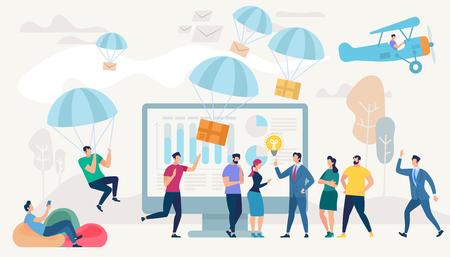 Social Network e concetto di lavoro di squadra. Sistemi di comunicazione e tecnologie digitali. Persone in rete e set di comunicazione umana. App di messaggistica. Illustrazione vettoriale di stile piatto.