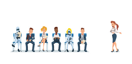 Job Interview Recruiting and Robots. Human Resources Interview Recruitment Job Concept. Modern Technologies in Office. Recruitment Banner Set with Candidates for Work. Vector Illustration Flat style.
