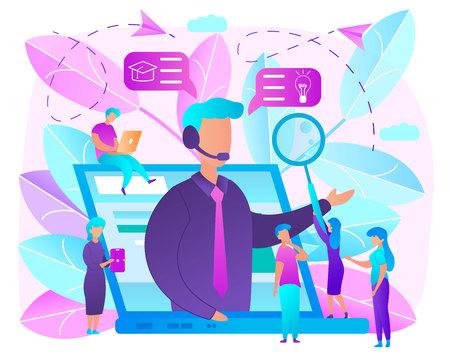 Concepto de Vector plano de colores brillantes de educación en línea. Uso de tecnologías de Internet para adquirir conocimientos con aprendizaje a distancia. Cursos a distancia, autoeducación con tutoriales, seminarios web o talleres en línea