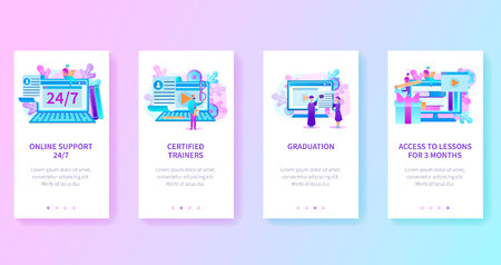 Online Platform or Internet Site of University, Distant Learning Self-Education Service, Online Courses with access to Lessons Vector Navigation Web Pages Vertical Templates for Mobile Devices Screens Illustration