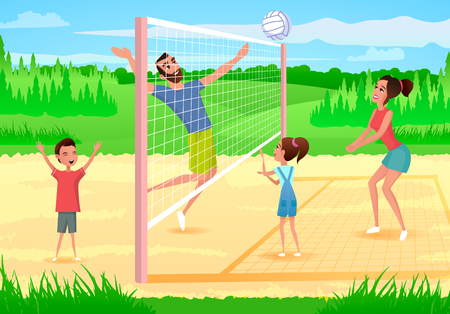 Family Playing Volleyball Cartoon Vector Illustration with Happy Parents Having Fun when Playing with Kids on Sports Playground. Sport Games with Family in City Park, Physical Activity Outdoors