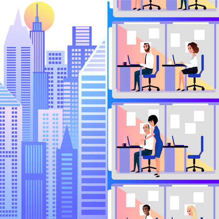Office Workers, Company Clerks or Government Officials Working at Their Office Workplaces in City Skyscraper During Work Day Cartoon Vector Illustration. Office Plankton, Office Work Daily Routine