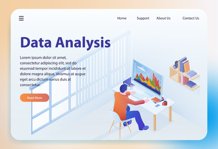 Data Analysis. Big Data Analyzing. Financial Analytics and Statistic. Analytics and Digital Technologies. Business Statistics Concept. Landing Page Banner. Vector Isometric Illustration.
