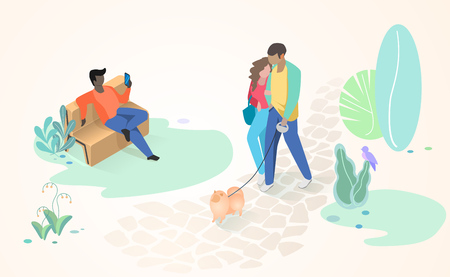 Comfortable City Park or Square Flat Vector Concept with Man Resting on Bench and Couple in Love Walking on Paved Park Road or Path with Dog Pet. Modern City Public Space, Recreational Infrastructure