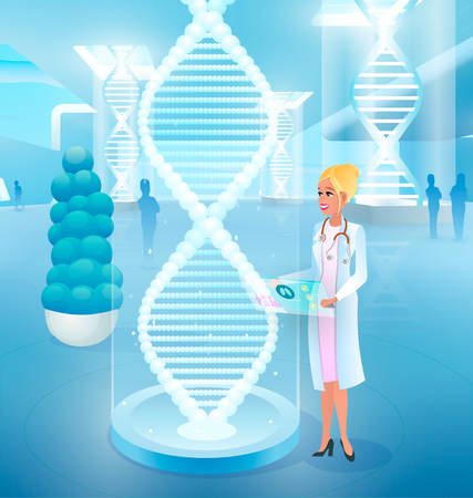 Editing, Correcting Genetic Code Mistakes, Treating Genetic Diseases Cartoon Vector Concept with Smiling Female Doctor Working with Virtual Human DNA Model. Clinic of Future, Medicine Innovations