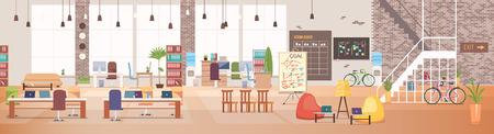 Büroeinrichtung und Arbeitsplatz. Moderner Office-Desktop im Coworking-Arbeitsbereich. Optimierung des Arbeitsplatzes. Open Space-Büro mit Möbeln. Arbeitsbereich mit Möbeln. Flache Vektor-Illustration.
