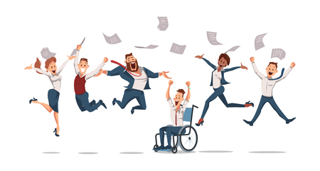 Trabajadores de oficina felices saltando. Diversión en la oficina. La gente trabaja en la oficina. Trabajadores felices en el lugar de trabajo. Cultura corporativa en la empresa. Alegre jornada laboral. Compañeros de trabajo. Ilustración vectorial.