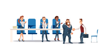 Job Interview and Recruiting Concept. Human Resources in Office. Teamwork during Interview. People Work in Office. Business Meeting at Office Space. Vector Illustration Flat style.