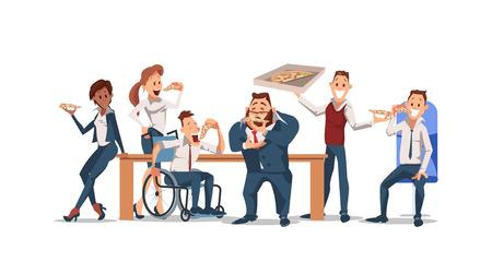 Mittagszeitkonzept. Mitarbeiter, die Mittagspause mit Pizza machen. Bürospaß. Glückliche Arbeiter am Arbeitsplatz. Menschen arbeiten im Büro. Unternehmenskultur in Büroräumen. Vektor flache Illustration.