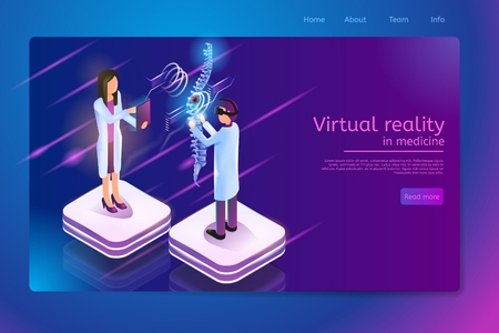 Virtual Reality in Medicine Isometric Web Banner with Medical Personnel, Doctor in VR Headset Diagnoses Spine Disease on Vertebral Column Virtual Image. Future Innovative Clinic Web Page Template Illustration