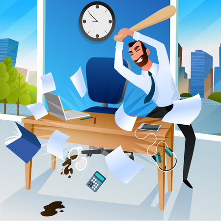 Angry Businessman or Office Worker Goes Mad and Crushing all Around at Workplace with Baseball Bat Cartoon Vector Illustration. Failure or Problems in Business, Stress and Negative Emotions at Work