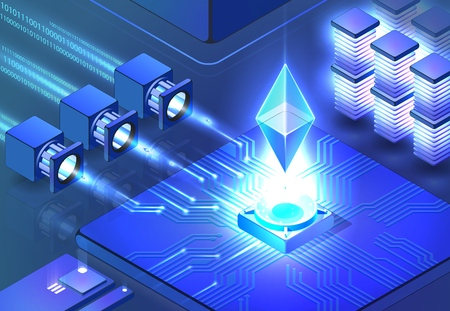 Smart Ethereum Mining. Cryptocurrency and Blockchain Concept. Data Transmission and Processing, Digital Technologies, Data Center. Blockchain Network Business. Vector Isometric Illustration.