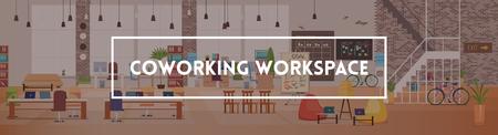 Interno dell'ufficio e spazio di lavoro. Desktop da ufficio moderno nell'area di lavoro di coworking. Ottimizzazione del posto di lavoro. Ufficio open space con mobili. Spazio di lavoro con mobili. Illustrazione vettoriale piatto.