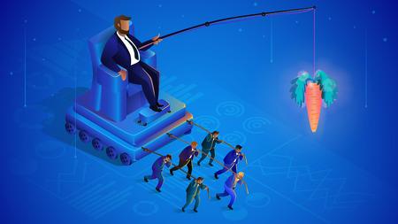Gestion des foules cachées. Mondialisation, le leader contrôle les marionnettes. Contrôle des foules de l'homme sur le trône. Concept de gestion d'entreprise. Manipulation et gestion. Illustration isométrique vectorielle. Vecteurs